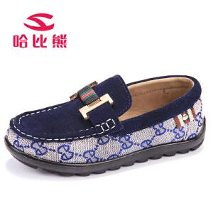 哈比熊童鞋男童豆豆鞋春秋款韩版儿童休闲皮鞋子宝宝单鞋潮鞋