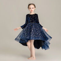 女童长袖公主裙蓬蓬纱儿童女孩钢琴演出服冬