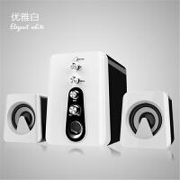 七夕礼物 迷你低音炮笔记本电脑音响钢炮低音炮家用台式小音箱 白色