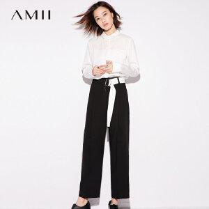 Amii[极简主义]港味原宿风时髦撞色裤2018秋新宽松直筒裤子