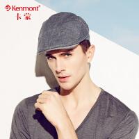 kenmont男士帽子春夏天时尚鸭舌帽 男韩版潮棉麻贝雷帽画家前进帽3212