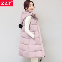 棉马甲女秋冬新款韩版加大修身中长款羽绒棉马夹加厚保暖外套jyl 粉色 2XL