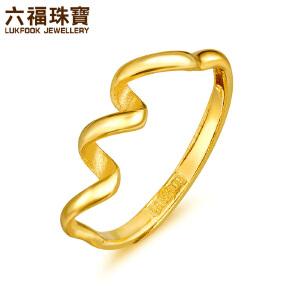 六福珠宝灵动丝带黄金戒指女足金活口可调节指环  L05TBGR0006