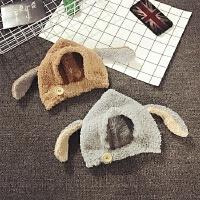 婴儿帽子6-个月秋冬季毛绒加厚宝宝帽子1-2岁套头帽护耳帽韩版