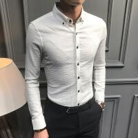 男士衬衫长袖春秋款休闲修身韩版潮流帅气寸衫2018新款发型师衬衣