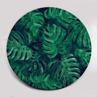 元气森林 龟背叶圆形地毯客厅浴室脚垫亲肤防滑地垫墨绿色
