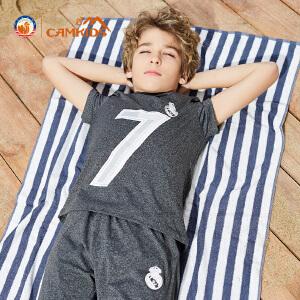 CAMKIDS2018夏季新款男童户外运动裤透气速干中大童速干裤五分裤