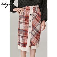 Lily2019秋新款女装金属扣撞色格纹修身罗纹针织包臀裙半身裙6920
