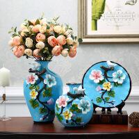 陶瓷花瓶摆件客厅插花欧式奢华创意摆设三件套家居装饰品美式花器