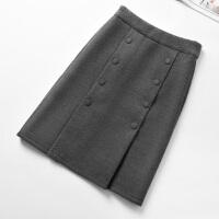 格子半身裙女2017冬季新款通勤韩版高腰毛呢包臀裙秋冬中长裙加厚
