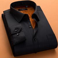 韩观冬季男士保暖衬衫男加厚加绒商务长袖男衬衫保暖衬衣男黑衬衫 黑色 HB631