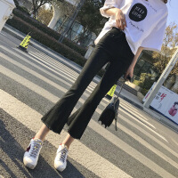 微喇叭裤女高腰九分2018新款牛仔裤chic风韩版显瘦ins超火的裤子