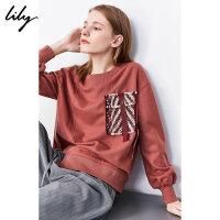 【不打烊价:275元】 Lily2019冬新款女装不对称拼接粗呢口袋宽松字母胶印圆领卫衣8978