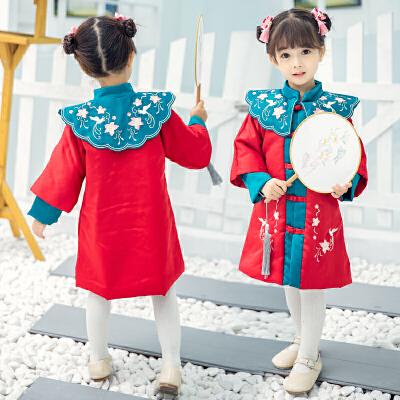 女童秋冬装汉服旗袍连衣裙夹棉儿童中国风古装唐装