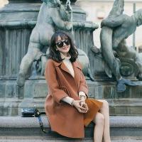 秋冬新款复古焦糖咖色七分袖宽松羊毛呢外套女双面呢大衣 焦糖色