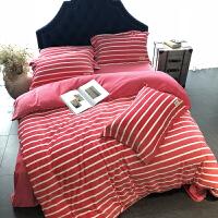 高端简约秋冬保暖四件套宝宝绒短毛绒条纹被套倍柔绒床上用品 倍柔绒 褚红