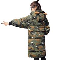 冬装宽松型小熊款迷彩连帽韩版中长款加厚羽绒服 迷彩色 XS 适合110斤左右