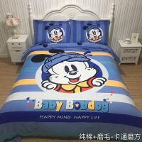 卡通全棉巴布可爱豆三四件套小狗男女孩纯棉磨毛加厚儿童床上用品