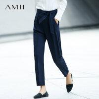Amii[极简主义]宽松休闲长裤女2017冬装新款帅气时尚配腰带裤子