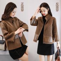 2017秋冬装韩版宽松毛呢外套女短款矮个子皮毛一体仿羊羔毛外套