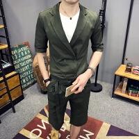 夏季新款夜店潮小西装男士韩版修身七分袖西服两件套装外套发型师