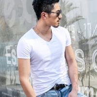 韩观夏装短袖T恤男士V领韩版修身体恤夏季半袖上衣服男装