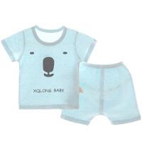 宝宝睡衣夏季彩棉男女童家居服薄款t恤套装短袖空调服
