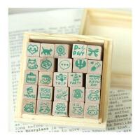 陆捌壹肆  快乐生活木盒装卡通图案日记印章 可爱图案 一套25枚