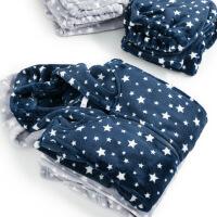 梦蜜 法兰绒月子服 秋冬季加厚珊瑚绒孕妇睡衣产后保暖产妇哺乳衣