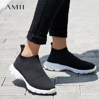 【折后价:170元/再叠加优惠券】amii原宿风一脚蹬运动休闲女鞋2018新款ulzzang弹力袜子鞋跑步鞋