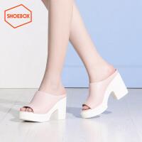 达芙妮集团 鞋柜夏季新款防水台高跟凉鞋休闲粗跟拖鞋女鞋