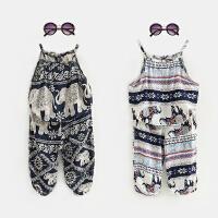 女童度假风大象套装夏儿童吊带上衣灯笼裤宝宝时尚两件套