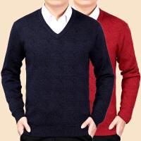秋冬中老年男士鸡心领毛衫V领加厚保暖宽松大码毛衣爸爸装针织衫