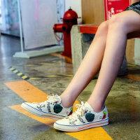 韩版气质学生简约ulzzang潮鞋时尚街拍板鞋涂鸦帆布鞋女