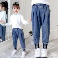 女童春装牛仔裤儿童外穿休闲长裤宽松中大童束脚裤