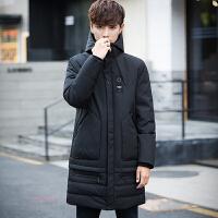 中长款羽绒服男灰鸭绒新款韩版修身连帽潮男装上衣服男士冬季外套