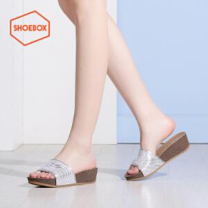 达芙妮旗下SHOEBOX/鞋柜夏款时尚韩版拖鞋女休闲厚底松糕鞋女鞋