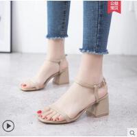 古奇天伦新款百搭韩版粗跟罗马一字扣高跟鞋凉鞋女士鞋子中跟夏季女鞋CFH8663