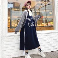 加肥加大长袖连衣裙冬季胖妹丝绒拼色休闲宽松加绒加厚卫衣连衣裙