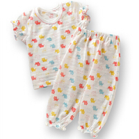 夏季女童内衣套装竹节短袖九分裤空调服防蚊两件套