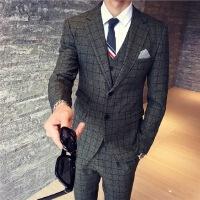 秋季英伦男士小西装韩版修身长袖男版西服上衣商务青年休闲外套潮 图色