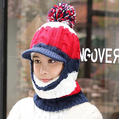 毛线帽子女冬季骑车加绒百搭时尚针织帽潮保暖围脖一体包头帽  M(56-58cm) 发货周期:一般在付款后2-90天左右发货,具体发货时间请以与客服协商的时间为准