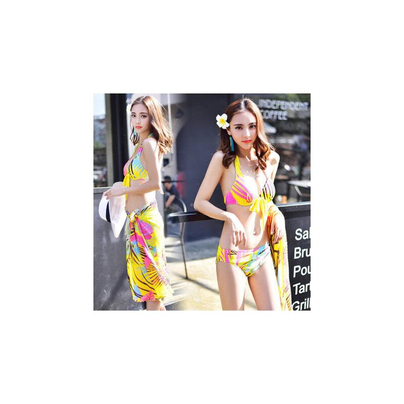 泳衣女比基尼三件套大胸小胸聚拢钢托性感新款温泉游泳衣 支持礼品卡支付 品质保证 售后无忧 支持货到付款