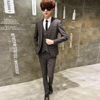 青年春秋季格子西服套装男士韩版修身小西装三件套礼服商务职业装 灰色 165/M