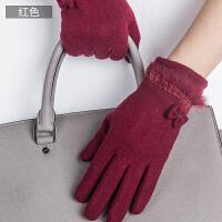 时尚女士触摸屏羊毛手套可爱女士加绒加厚保暖骑车学生手套 可礼品卡支付