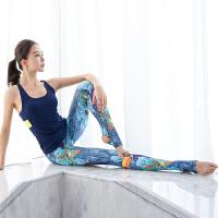 带胸垫上衣修身瑜珈紧身裤新款专业瑜伽服套装女运动速干背心 +