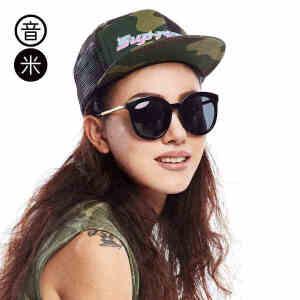 音米偏光镜透明大框猫眼墨镜女复古炫彩太阳镜女司机镜墨镜女方脸 AASBPY002