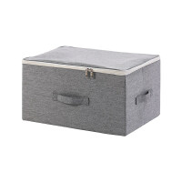 {夏季贱卖}收纳箱布艺衣柜收纳盒整理箱衣服箱子衣物储物盒折叠家用大号盒子 深灰 大号:45x35x25cm