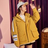 【新品339.9元】唐狮工装羽绒服女时尚新款冬季厚外套女韩版宽松短款羽绒服女