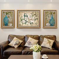 客厅装饰画沙发背景墙挂画现代美式餐厅油画简欧壁画三联欧式墙画 110*85【中间】/65*85【左右】 整套价格